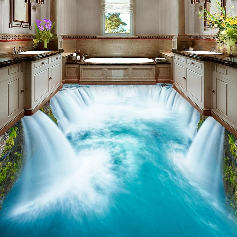 US $13.32 46% OFF|Hochwertige Boden Wandbild Tapete PVC Wasserdichte Selbst  klebe Tapete Badezimmer Wc 3D Boden Wasserfall Dekor Murals-in Tapeten aus  ...