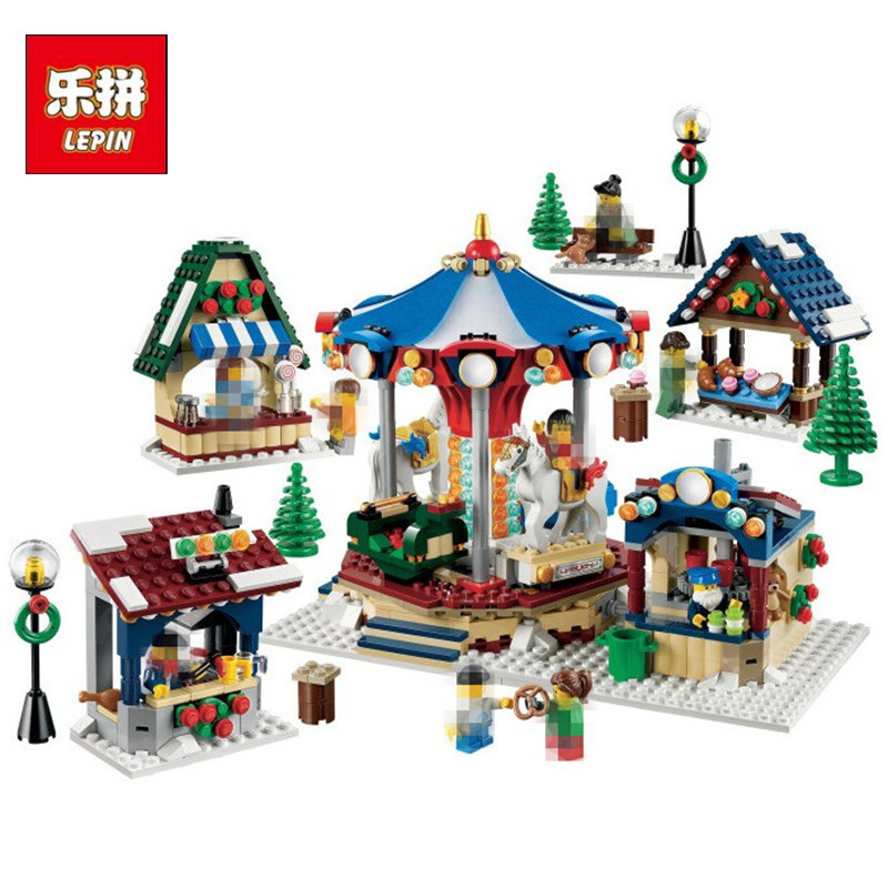 in stock Lepin 36010 1412pcs Christmas series Winter Village Market Carousel Model Building Blocks Bricks Toys 10235 lepin 36010 genuine creative series the winter village market set legoing 10235 building blocks bricks educational toys as gift