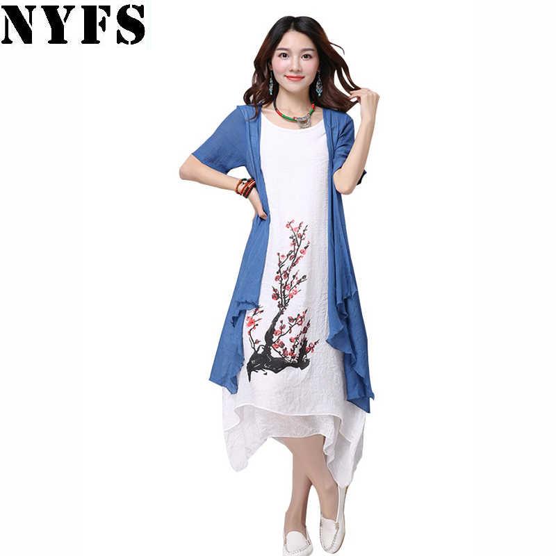 NYFS 2019 новое летнее платье женская одежда небольшой свежий длинное платье  поддельные 2 предмета платье свободные 69d6da650f5
