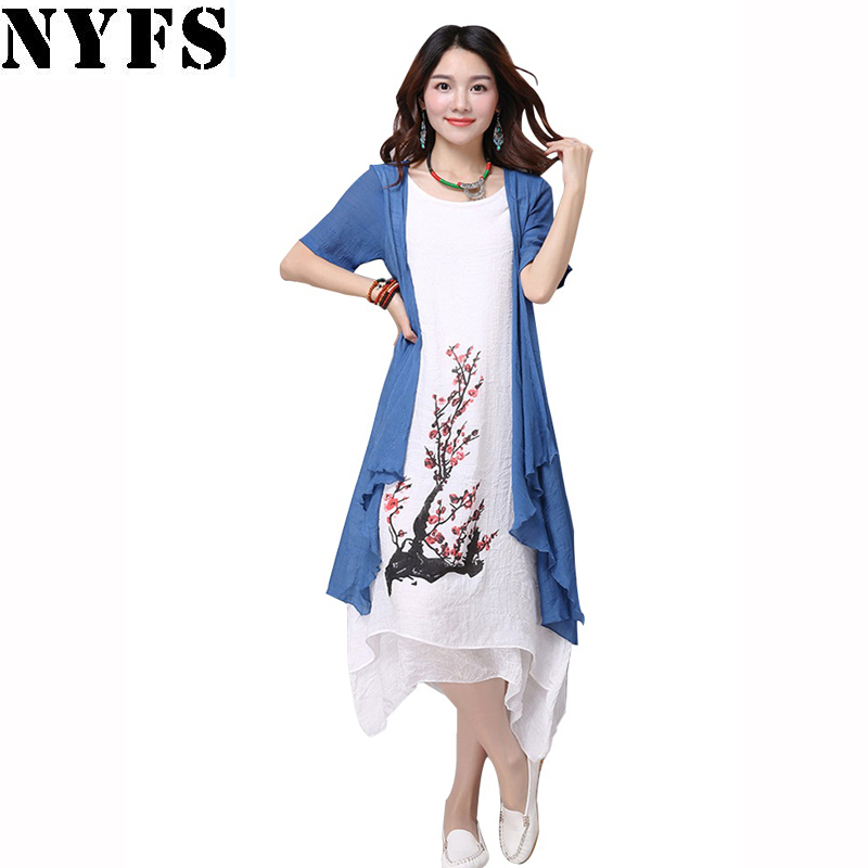 2018 New summer dress women clothing Small fresh long dress Fake two pieces Dress casual loose