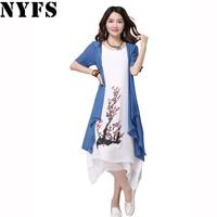 2016 New Summer Dress Women Clothing Small Fresh Women Dress Tow Piece Dress Casual Plus Size