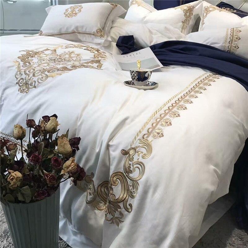 5 sztuk luksusowe biały niebieski pościel z egipskiej bawełny król Queen size zestawy pościeli orientalne złoty haft kołdra pokrywa zestaw prześcieradeł poszewka na poduszkę w Zestawy pościeli od Dom i ogród na  Grupa 3