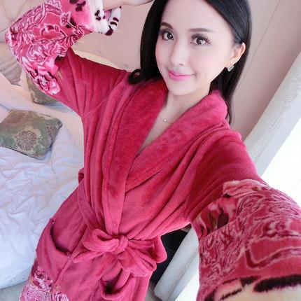 2017 Primavera Outono Inverno Anti Frio & Ficar Quente Família Coral Fleece Roupão de Banho Das Mulheres Robe de Flanela Senhora Pijama Térmicas Mais