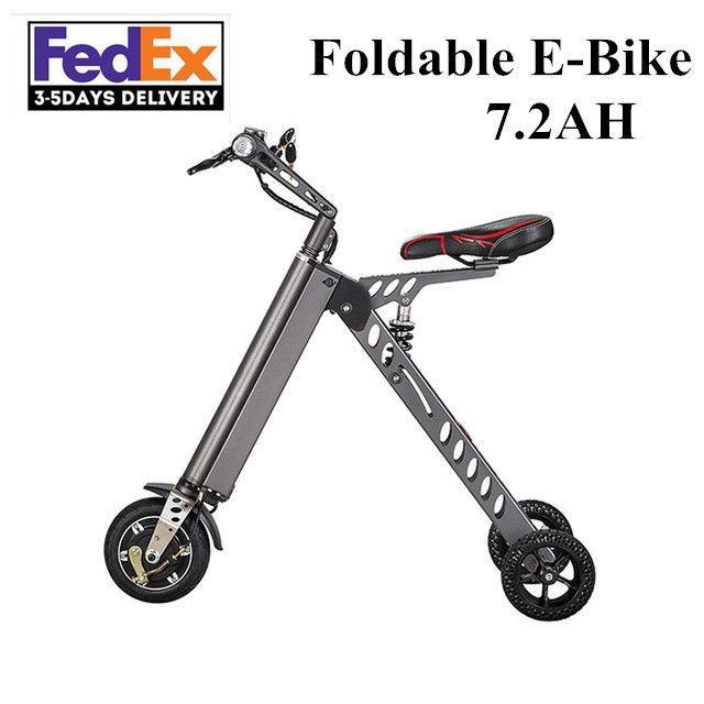 2017 Electric Bicycle 3 wheels Electric scooter Ebike 36V 300W Mini Foldable Electric Bike+36V 7.2Ah Li-ion Battery