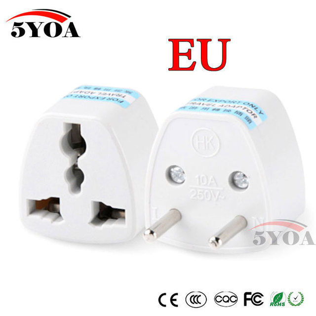 1PC Universal US UK AU To EU Plug USA To Euro Europe Travel Wall AC Power Charger Outlet Adapter Converter 2 Round Socket Pin 1