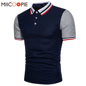 جديد وصول 2018 الرجال قميص بولو العلامة التجارية الصيف الفانيلة الرجال قمم عارضة الكلاسيكية الوقوف طوق الذكور القطن تنفس قميص بولو XXL