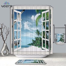 VOZRO Bathroom Shower Curtain Quality Natural Waterproof Polyester 2 M Cloth 3D Farm Ocean Window Totem Bape Pascoa Cortina Whal