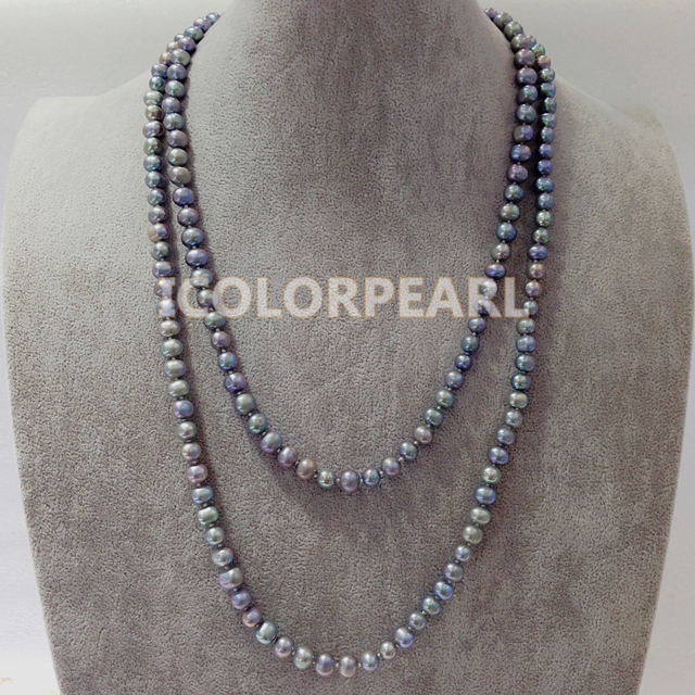 Classic 125cm Long 7-8mm Nearround Grey Freshwater Pearl Jewelry Sweater Necklace.