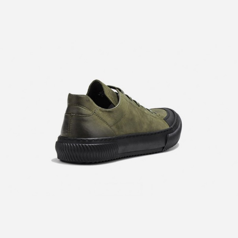 Cut black Couro De Exército Homme Army Green Up Flats Vintage Homens Sapatos Marca Trainer Do Sneakers Low Militar Verde Genuíno Mocassin Lace Luxo BwxqUY