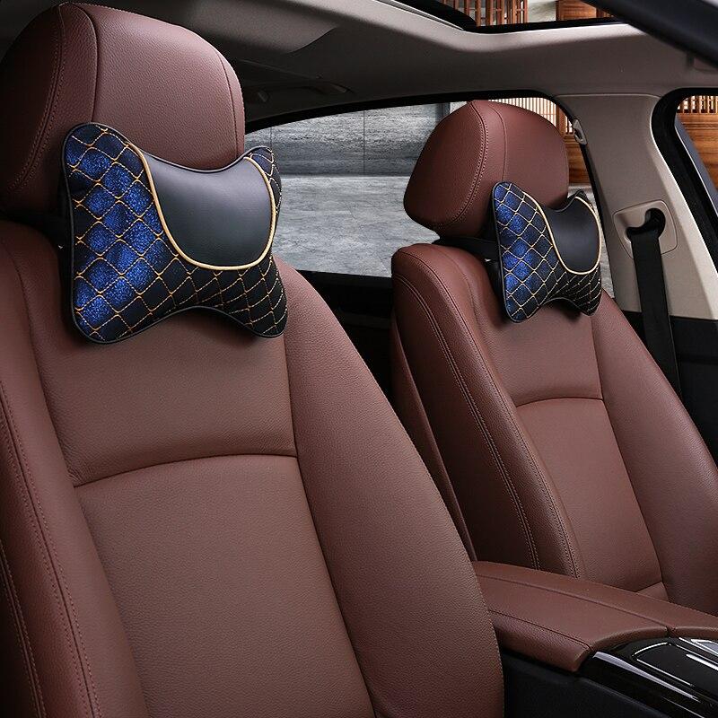 KKYSYELVA Black Car Leather Pillow neck cushion Support Interior Accessories Headrest