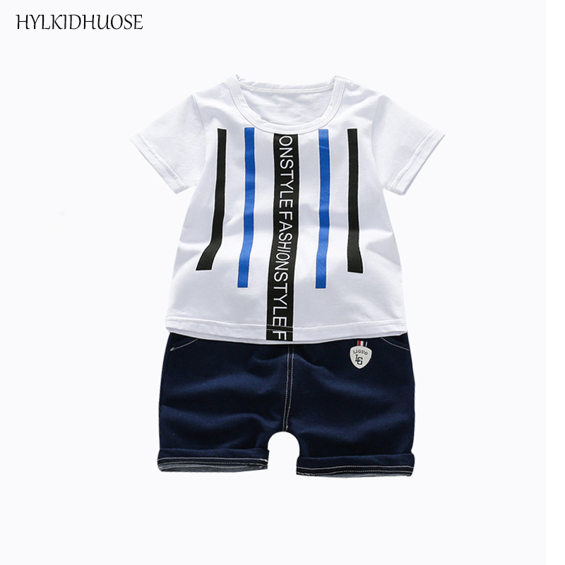 HYLKIDHUOSE 2018 Summer Baby Boys Clothing Sets Casual Infant Cotton Stripe T Shirt Shorts Male Children Sports Clothes Suits