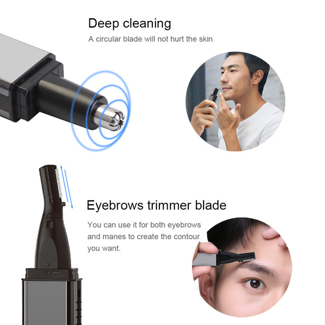 Electric Nose Ear Hair Trimmer Rechargeable Beard Eyebrow Trimmer Electric Nose Ear Shaver Hair Cliper Epilator Remover 4 in 1 2