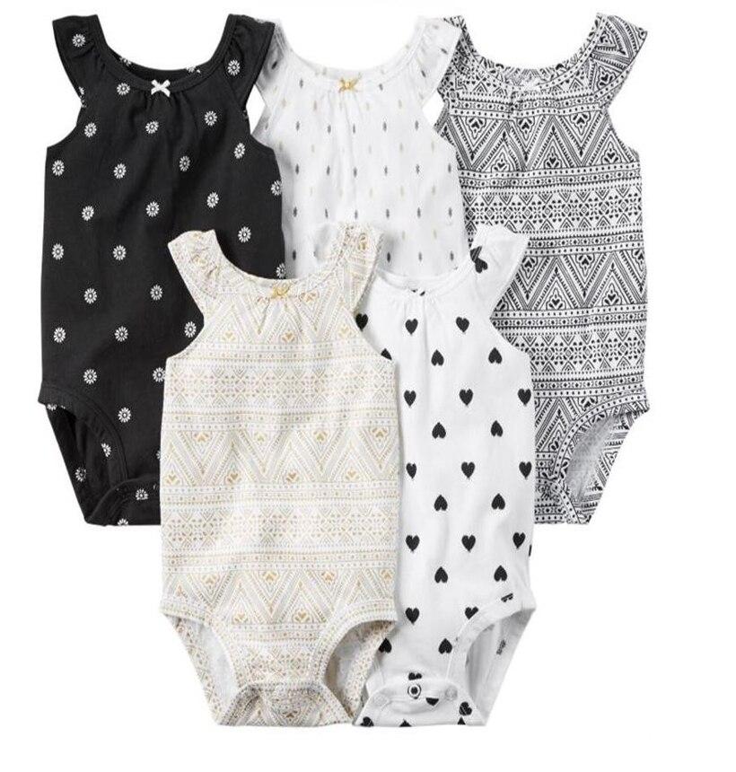 Оптовая продажа 5 шт./лот ребенка Bebes детская одежда для девочек комплект, полный хлопок Комбинезоны для женщин без рукавов Одежда Комбинезо...
