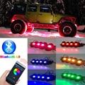 RGB carro LEVOU Luz Rocha 4 pcs Tira Luzes LED 4 cores Estilo Do Carro Atmosfera Decorativa Lâmpadas Car Interior Luz Com remoto