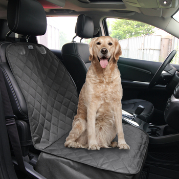 Front car seat cover for dogs which is waterproof, feels soft and comfortable. Easy to install and clean. Your dog will love it.