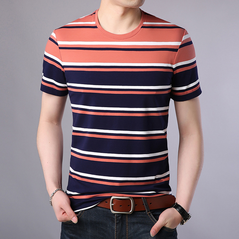 male 2019 summer round neck short-sleeved T shirt man wild casual tops Tees men's trend striped t shirts H66138