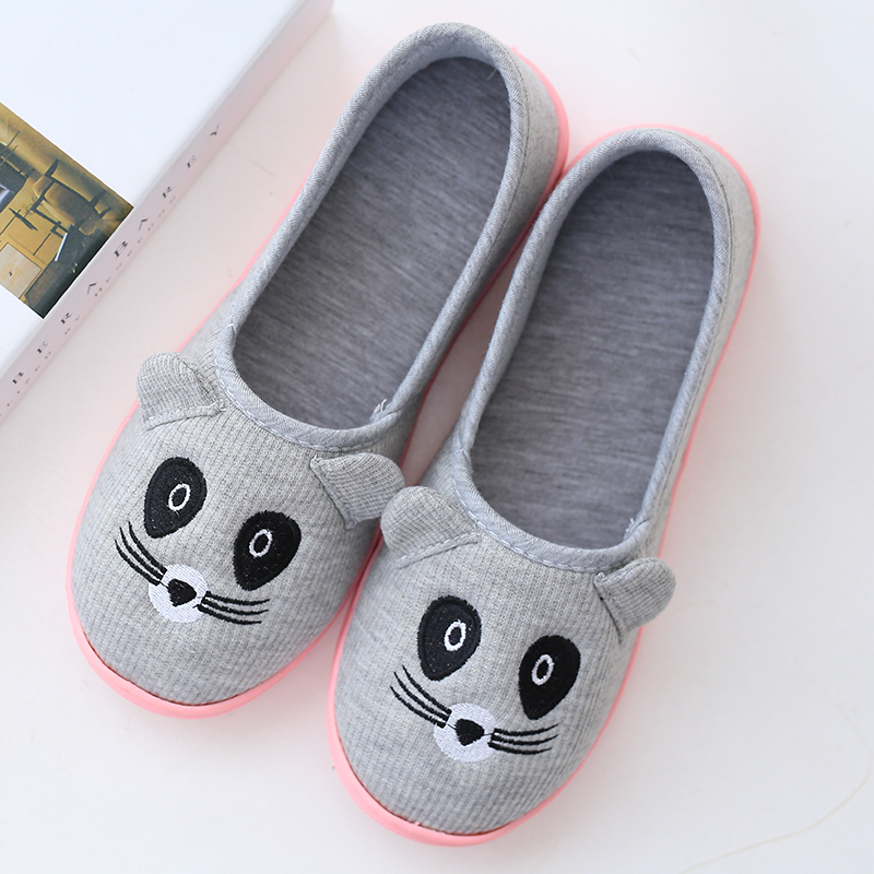 2017 New style cute cat cartoon women slippers indoor floor at home spring and autumn Cotton Fabric adult shoes ladies slippers autumn travel aviation hotel home shoes cotton padded folding slippers women men indoor floor slippers free shipping