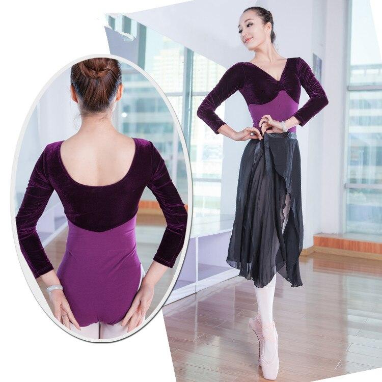 bf487a76e95d Classy professionale balletto tutu danza moderna nuova performance fionda  indietro backless velvet manica lunga Tuta viola