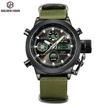 Top Brand Luxury Men's Quartz Digital Sports Watches Nylon LED Military Army Waterproof Stopwatch Wristwatch Reloj Hombre