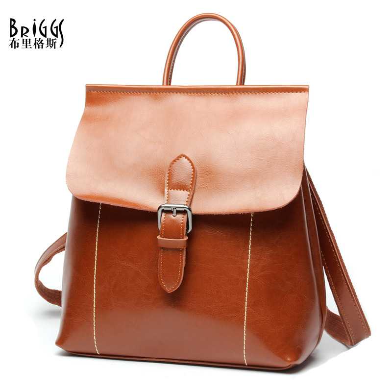 BRIGGS Brand Vintage Women Backpack High Quality Genuine Leather Travel Bag College Student School Bag For Girls Preppy Style briggs famous brand women backpack soft genuine leather backpacks school bag high quality leather travel bag for teenage girl