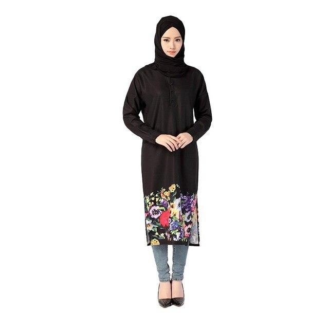 Muslim Costume Dress Women Flowers Printed Dress World Apparel Style Islam Long Sleeve Dress Arab Jilbab Abaya Dresses