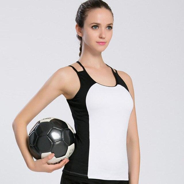 659c8678aa3415 JLZLSHONGLE Women's Top Quick-Dry White And Black Fitness Tank Tops Sexy  Padded Bra Workout