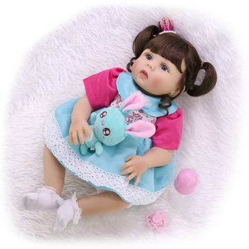 "Reborn baby toddler girl princess doll 23""57cm bebes reborn corpo de silicone inteiro realista toy dolls  children's day gift"
