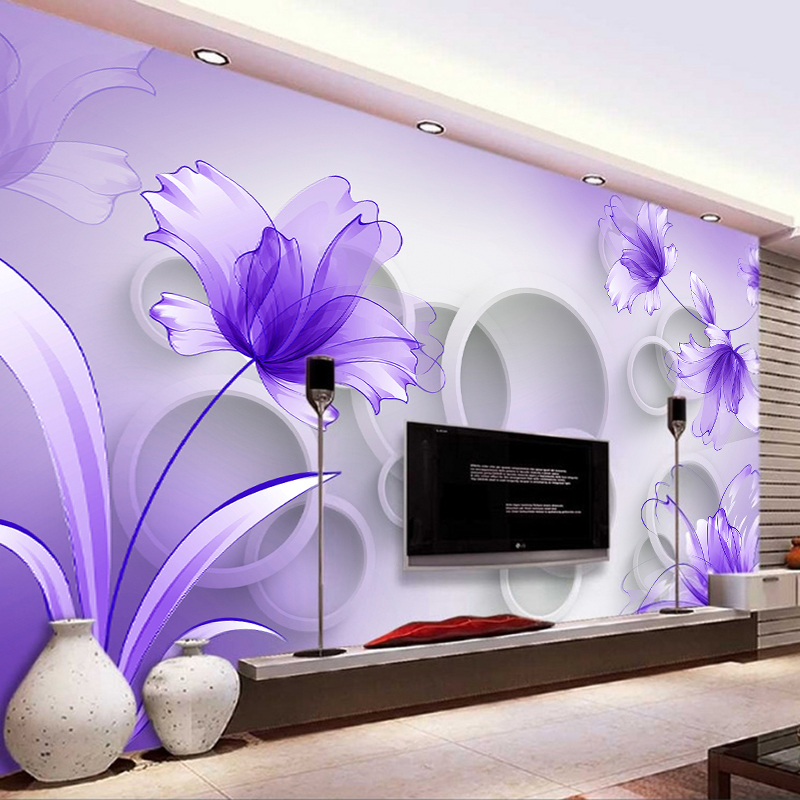 Custom Wall Mural Wall Painting Purple Lily Transparent Flowers Modern Fashion 3D Living Room TV Background Wall Cloth Wallpaper