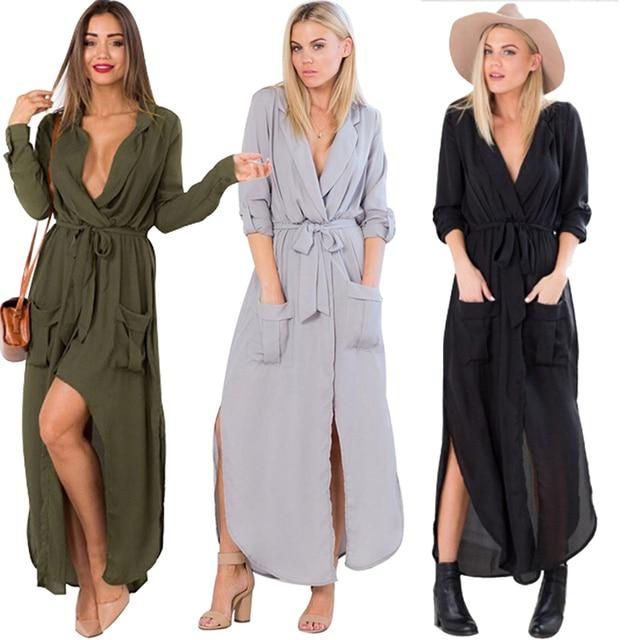 db7f31932da Sexy Women Tunic Robe Maxi Duster Dress Side Split Bow Tie Pocket Wrap  Ruched Shirt Collar Shift Dress Fall Autumn Winter Outfit