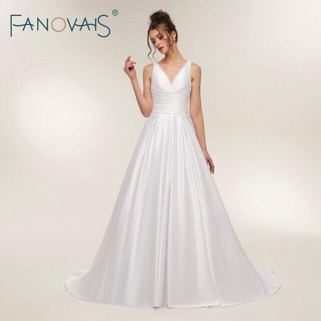 Simple Satin Wedding Dresses Organza V Neck White Wedding Gowns ...