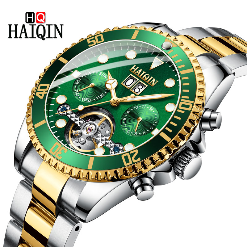 HAIQNI Mens Watches Watch Men 2019 New Gold Luxury Tourbillon Waterproof Mechanical Watch Sports Fashion Stainless Steel Clock HAIQNI Mens Watches Watch Men 2019 New Gold Luxury Tourbillon Waterproof Mechanical Watch Sports Fashion Stainless Steel Clock