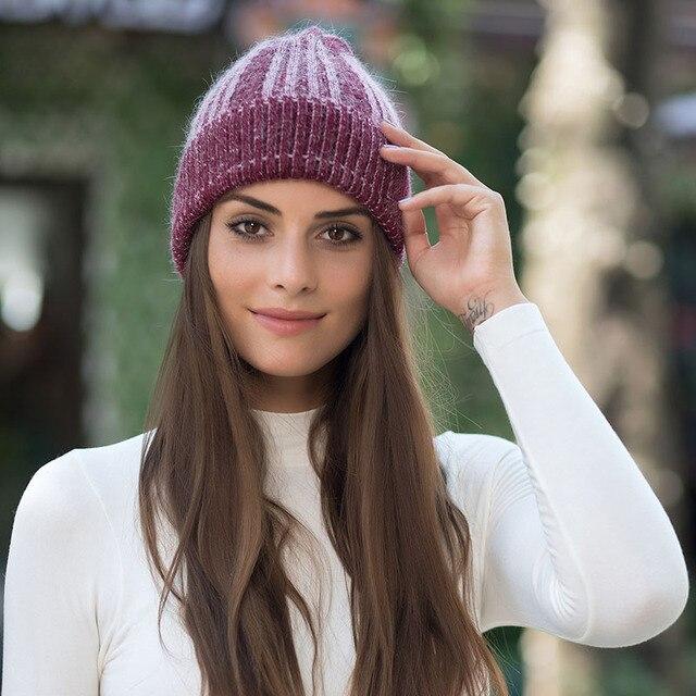 Coelho macio duplo tricô gorro grosso beanie tampas de inverno quente  sólidos chapéus para cap skullies gorros chapéu feminino das mulheres 1b4ad150672