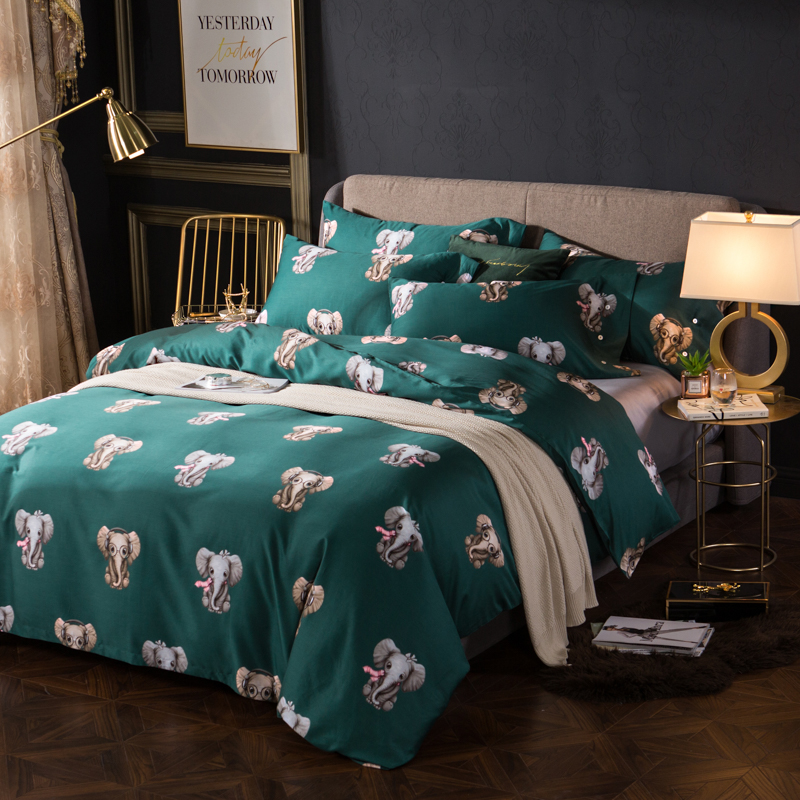 Egyptian cotton fabric Cute elephants print bedding set Queen King Size duvet cover flatsheet pillowcaseEgyptian cotton fabric Cute elephants print bedding set Queen King Size duvet cover flatsheet pillowcase