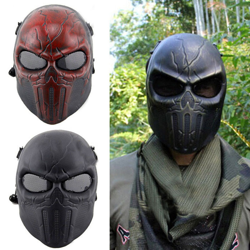 Ear-protective Full Face Mask Airsoft Paintball Mask For halloween Protective Mask CS Wargame Field game Cosplay Movie Prop chief sw2104 skull style full face mask for war game cs black