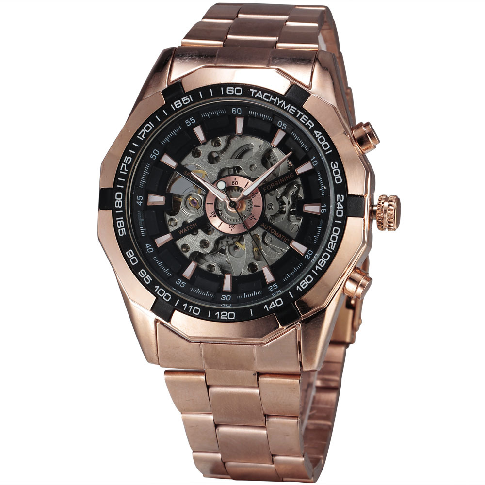 2016 FORSINING Brand Fashion Automatic Mechanical Men Sport Watches Rose Gold Steel Skeleton Black Dial Clock Relogio Masculino forsining gold hollow automatic mechanical watches men luxury brand leather strap casual vintage skeleton watch clock relogio