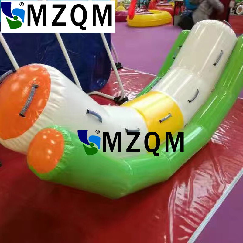 MZQM 3X1.2m  water play games inflatable toys for kids 0.9mm pvc tarpaulin single double tubes inflatable water seesaw for sale river treasure water sport toys inflatable water seesaw