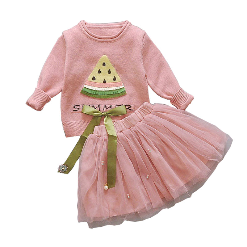 New Fashion Girls Sweater Watermelon And Mesh Skirt Set Girls Suits Toddler Girl Clothes Baby Party Dress Set Toddler Clothing 2018 new party girls clothing set girl
