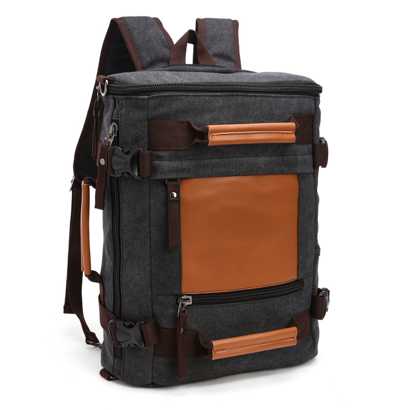 Stylish Travel Large Capacity Backpack Male Messenger Shoulder Bag Computer Backpacking Bag Canvas Multifunctional Versatile Bag ...