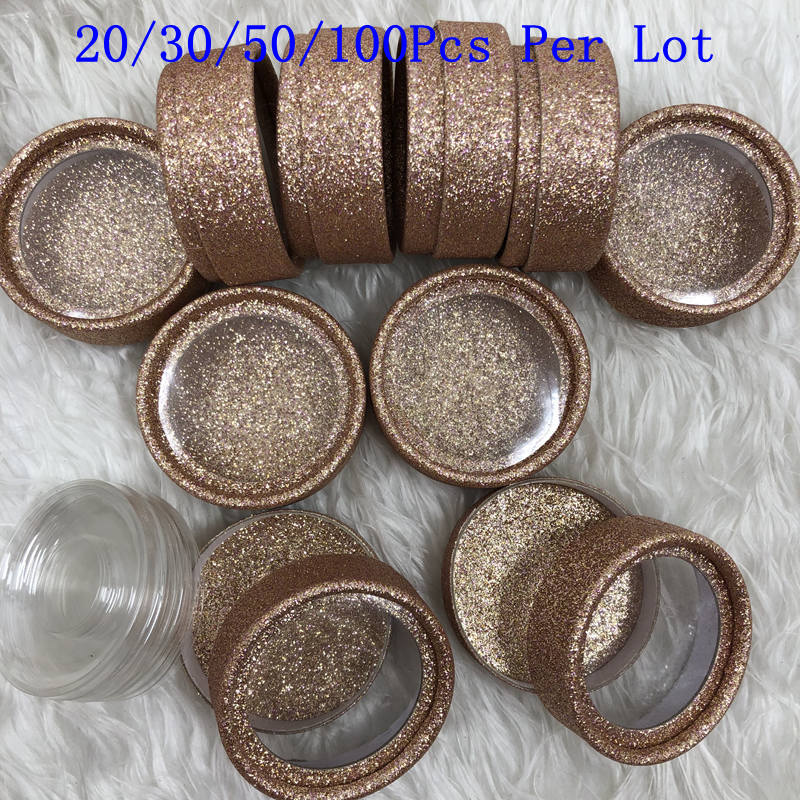 Mikiwi Custom Packaging Glitter Paper Round Case With Tray Wholesale Mink Lashes Private Label Logo Packing Box Empty Case