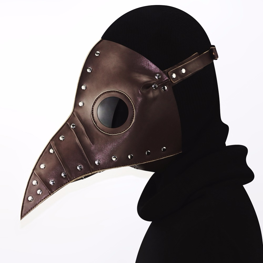 GEARDUKE New Arrival Coffee Steampunk Plague Doctor Mask PU Leather Birds Beak Masks Halloween Cosplay Carnaval Costume Props