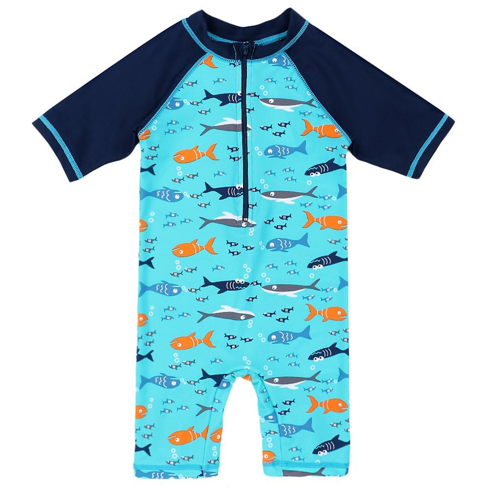 2018 ตัวละครใหม่ล่าสุด 3-10Y เด็กผื่นยามป้องกันรังสียูวีชุดว่ายน้ำ (UPF50 +) ชุดว่ายน้ำว่ายน้ำ S Urf ฉลามชุดว่ายน้ำเด็ก