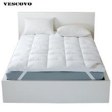 Colchón de cama de alta calidad, relleno de Pluma de Pato Blanco, capa 100% de algodón, tamaño doble reina rey