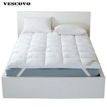 Qualidade superior marca branco pato pena enchimento cama colchão 100% algodão camada colchão gêmeo rainha rei tamanho