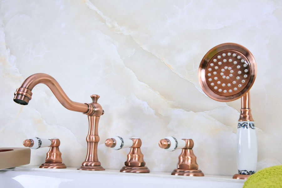 Antique Red Copper Brass Deck 5 Holes Bathtub Mixer Faucet Handheld Shower Widespread Bathroom Faucet Set Basin Water Tap atf224Antique Red Copper Brass Deck 5 Holes Bathtub Mixer Faucet Handheld Shower Widespread Bathroom Faucet Set Basin Water Tap atf224