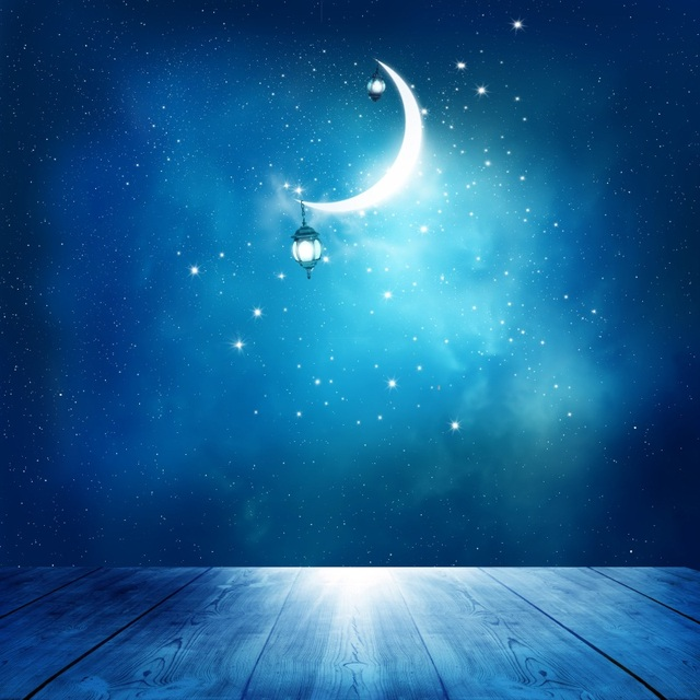 Laeacco Clouded Moon Night Starry Sky Wood Floor Baby