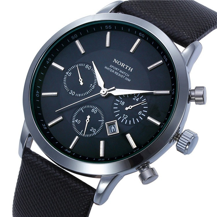 North Quartz Watch Black Dial Sport Leather Strap