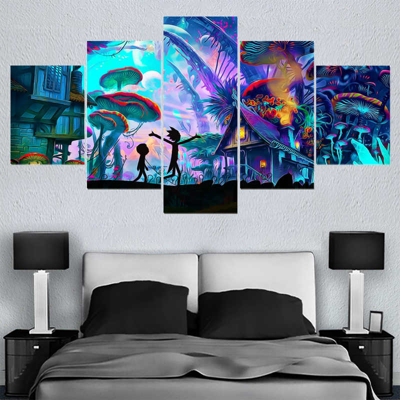 5 Panels Painting Calligraphy rick and morty poster Wall Art Painting Modern Home Decor Picture Paintings On Canvas