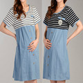 Summer maternity short-sleeved dress Fashion leisure striped stitching long breast-feeding dress cotton