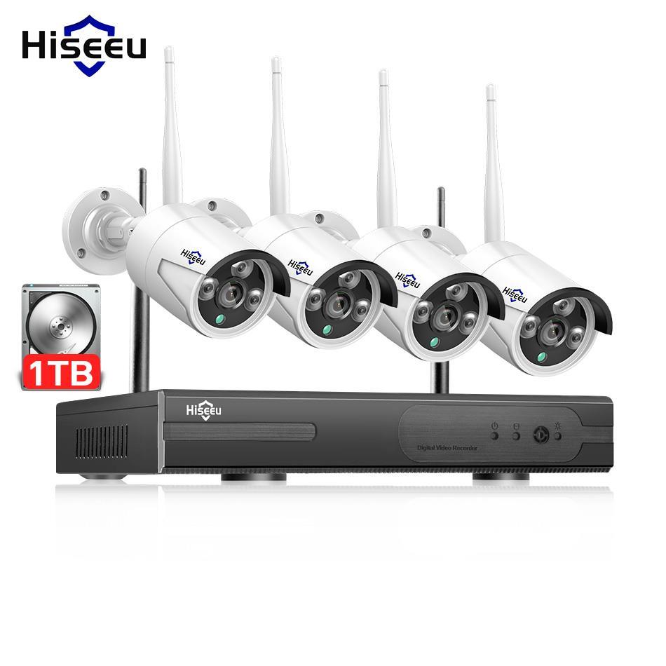 Hiseeu CCTV Système Kit caméra ip sans fil 1080 P Extérieure de Sécurité Vidéo Surveillance H.265 Record 1 TB Étanche Mobile Voir
