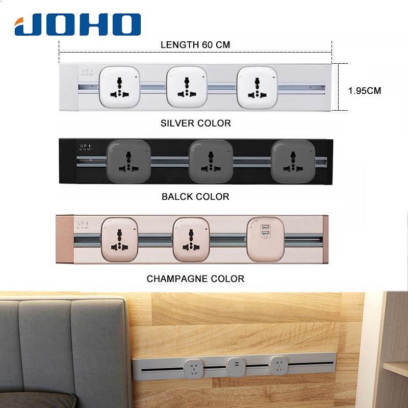 JOHO 60 CM multi-fonctionnel EU prise de courant en aluminium mur prise de courant Socketbar 8000 W 250 V pour salon chambre bureau